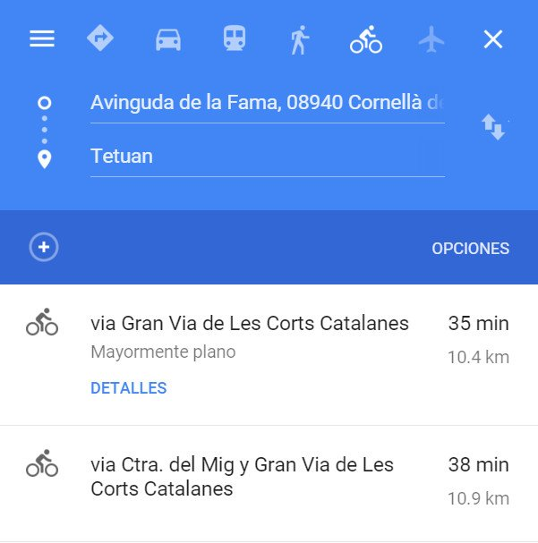 google maps rutas bici