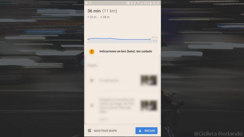 google Maps para bicicleta