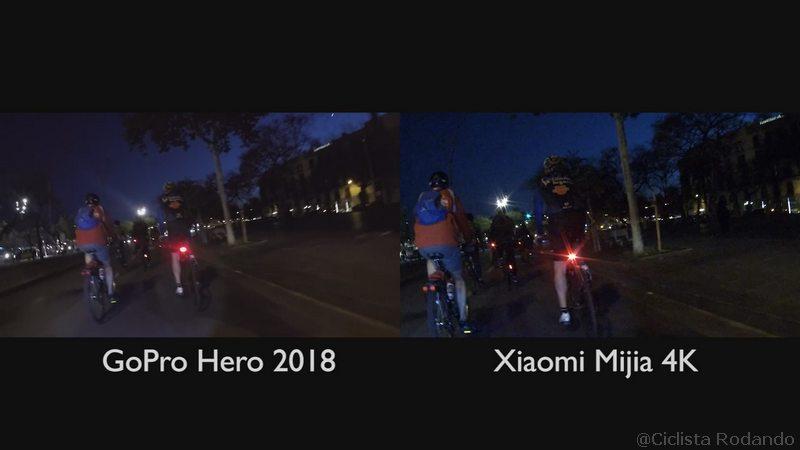 noche oscuridad Gopro Hero 2018 Vs Xiaomi Mijia 4K comparativa
