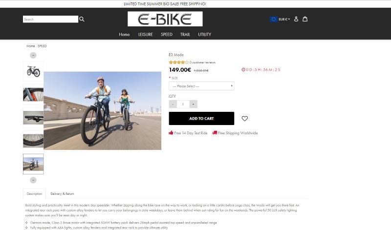 Estafa en tienda online de bicicletas