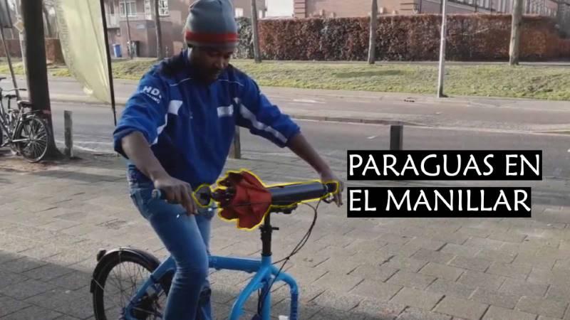 paraguas manillar bicicleta