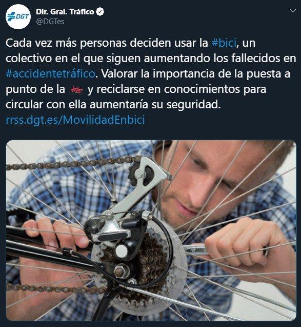 Desafortunado Tweet DGT bicicleta